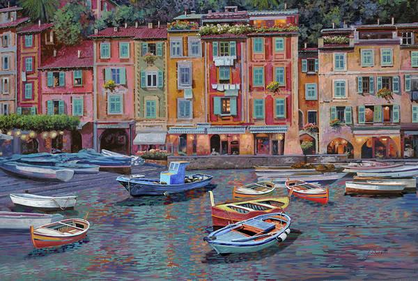 Portofino Art Print featuring the painting Portofino al crepuscolo by Guido Borelli