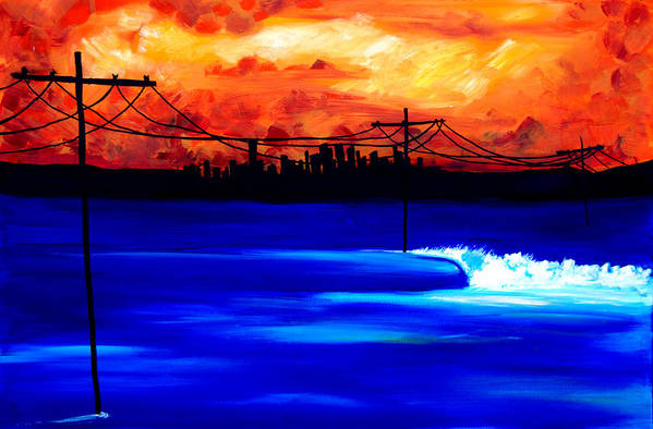 Power Trip Was Created To Mix Urban And Aquatic Scenery. I Was Inspired To Put Power Lines In For Showing Our Future State Of Global Warming. Surf Art Waves. Art Print featuring the painting Power Trip - surf art by Nathan Paul Gibbs
