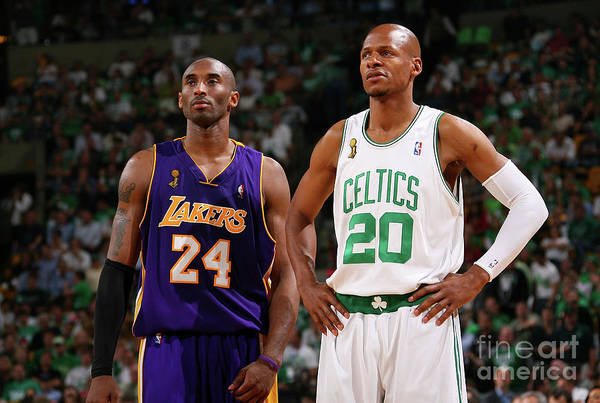 Nba Pro Basketball Art Print featuring the photograph Ray Allen and Kobe Bryant by Jesse D. Garrabrant