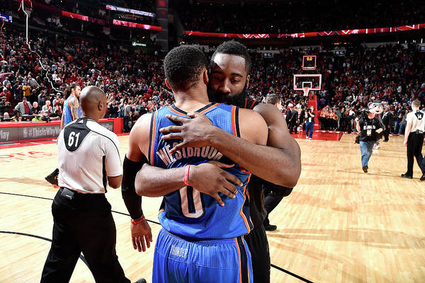 Nba Pro Basketball Art Print featuring the photograph Russell Westbrook and James Harden by Bill Baptist