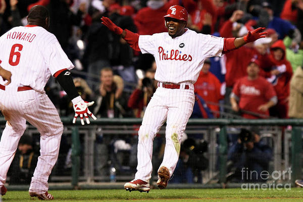 Playoffs Art Print featuring the photograph Ryan Howard and Jimmy Rollins by Nick Laham