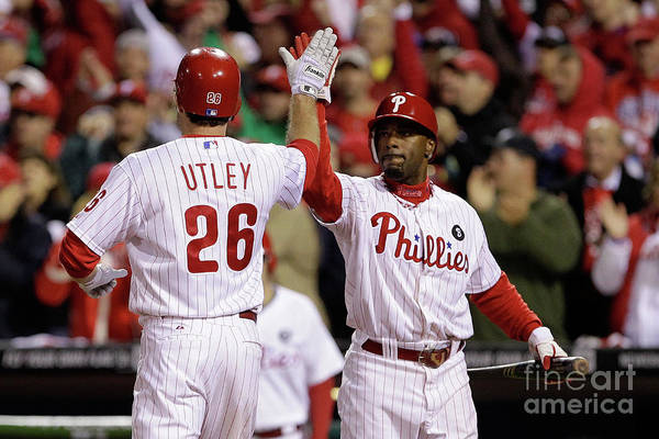 Game Two Art Print featuring the photograph Ryan Howard, Jimmy Rollins, and Chase Utley by Rob Carr