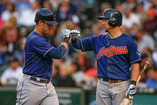 American League Baseball Art Print featuring the photograph Ryan Raburn and Yan Gomes by Otto Greule Jr