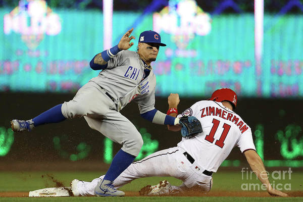 Game Two Art Print featuring the photograph Ryan Zimmerman and Javier Baez by Win Mcnamee