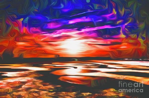 Landscape Art Print featuring the digital art Sands Beach by Michael Stothard