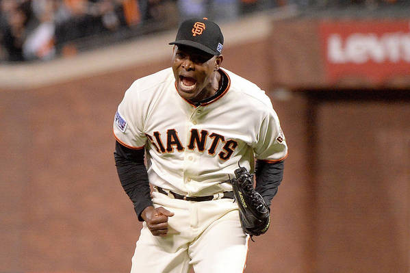 Playoffs Art Print featuring the photograph Santiago Casilla by Harry How