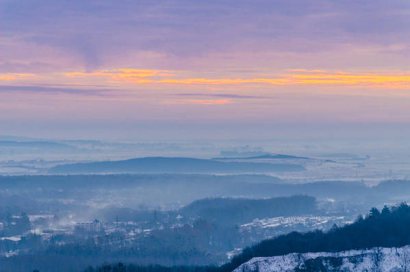 Tranquility Art Print featuring the photograph Scenic view of mountains during sunset by Yuriy Semak / FOAP