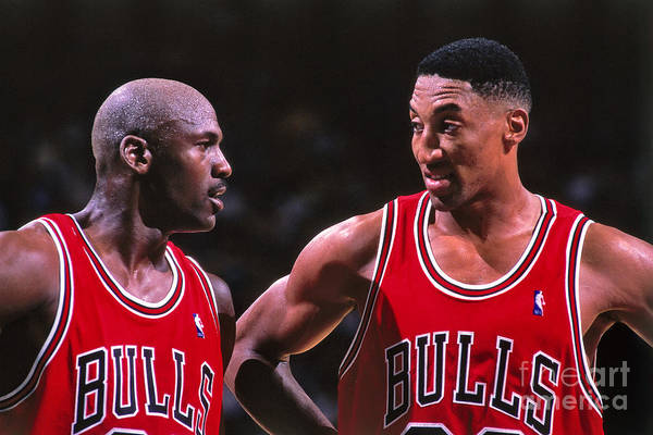 Chicago Bulls Art Print featuring the photograph Scottie Pippen and Michael Jordan by Kent Smith