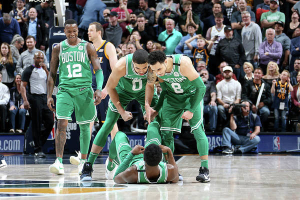 Nba Pro Basketball Art Print featuring the photograph Shane Larkin, Jaylen Brown, and Jayson Tatum by Melissa Majchrzak