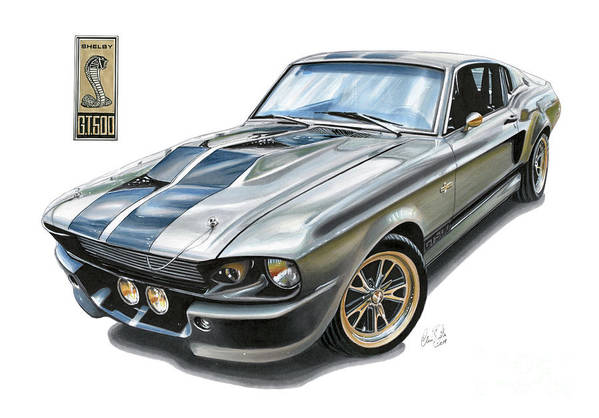 Ford Art Print featuring the drawing Shelby Mustang Gt500 by Clive Botha - The Cartist