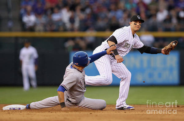 American League Baseball Art Print featuring the photograph Shin-soo Choo and Troy Tulowitzki by Doug Pensinger