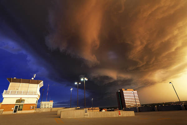 Thunderstorm Art Print featuring the photograph Squall line crossing overhead by Loren M Rye