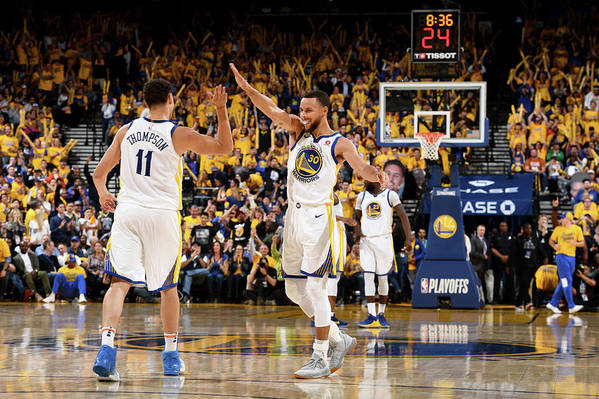 Playoffs Art Print featuring the photograph Stephen Curry and Klay Thompson by Garrett Ellwood