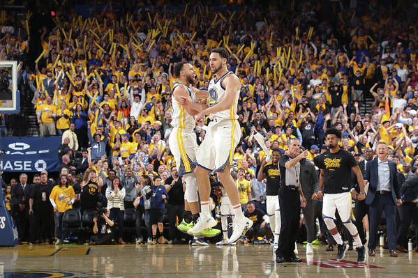 Playoffs Art Print featuring the photograph Stephen Curry and Klay Thompson by Joe Murphy
