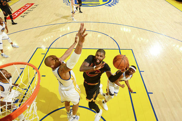 Playoffs Art Print featuring the photograph Stephen Curry and Kyrie Irving by Jesse D. Garrabrant