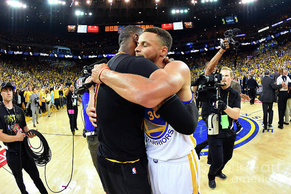 Playoffs Art Print featuring the photograph Stephen Curry and Lebron James by Jesse D. Garrabrant