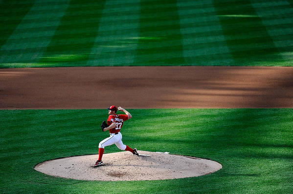 American League Baseball Art Print featuring the photograph Stephen Strasburg by Patrick Mcdermott