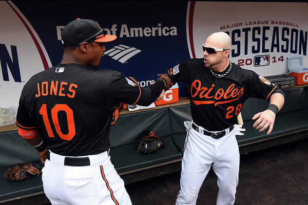 Game Two Art Print featuring the photograph Steve Pearce and Adam Jones by Patrick Smith