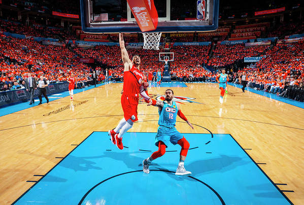 Playoffs Art Print featuring the photograph Steven Adams and Enes Kanter by Zach Beeker