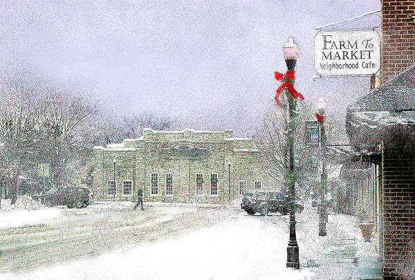 Snow Scene Art Print featuring the photograph Strang Car Barn in Winter by Steve Karol