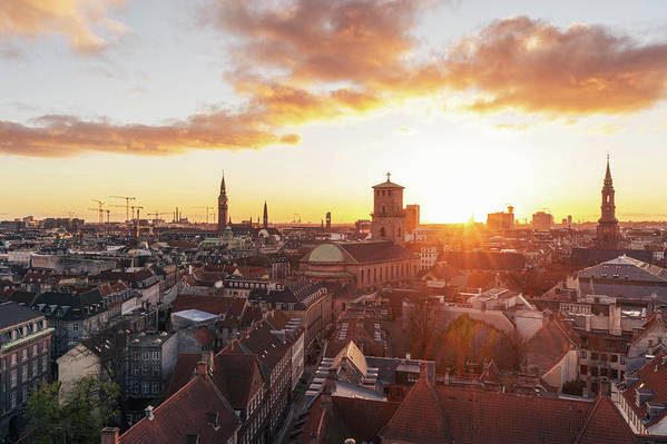 City Art Print featuring the photograph Sunset above Copenhagen by Hannes Roeckel
