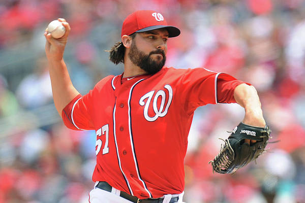 Baseball Pitcher Art Print featuring the photograph Tanner Roark by Mitchell Layton