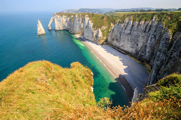 Shadow Art Print featuring the photograph The white cliffs of Etretat, the alabaster coast by Frans Sellies