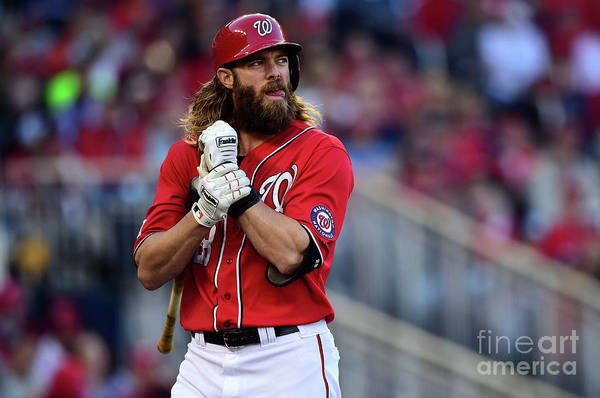 Game Two Art Print featuring the photograph Tim Hudson and Jayson Werth by Patrick Smith