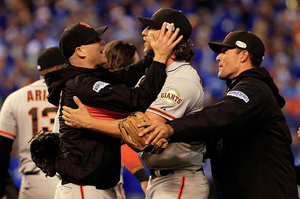 People Art Print featuring the photograph Tim Hudson and Madison Bumgarner by Jamie Squire