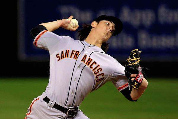 Game Two Art Print featuring the photograph Tim Lincecum by Jamie Squire