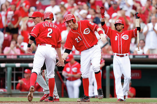 Great American Ball Park Art Print featuring the photograph Todd Frazier, Homer Bailey, and Zack Cozart by Joe Robbins