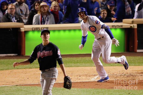 People Art Print featuring the photograph Trevor Bauer and Kris Bryant by Jamie Squire