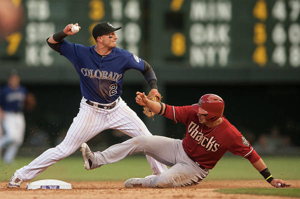 Double Play Art Print featuring the photograph Troy Tulowitzki and Martin Prado by Dustin Bradford