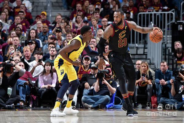 Playoffs Art Print featuring the photograph Victor Oladipo and Lebron James by David Liam Kyle