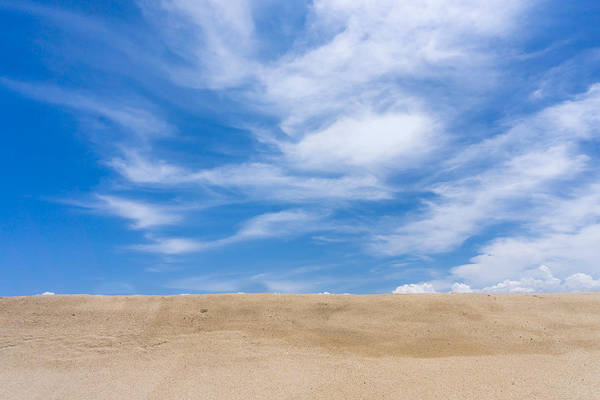 Tranquility Art Print featuring the photograph View Of Sand Against Blue Sky And Clouds by Jesse Coleman / Eyeem