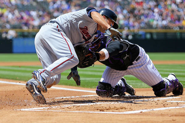 Baseball Catcher Art Print featuring the photograph Wilin Rosario and Brian Dozier by Justin Edmonds