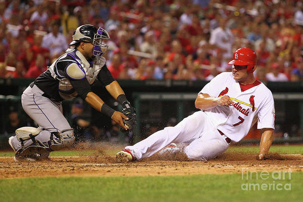 St. Louis Cardinals Art Print featuring the photograph Wilin Rosario and Matt Holliday by Dilip Vishwanat