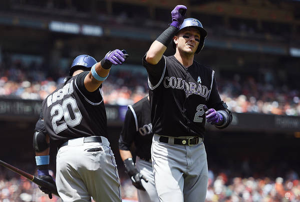 San Francisco Art Print featuring the photograph Wilin Rosario and Troy Tulowitzki by Thearon W. Henderson