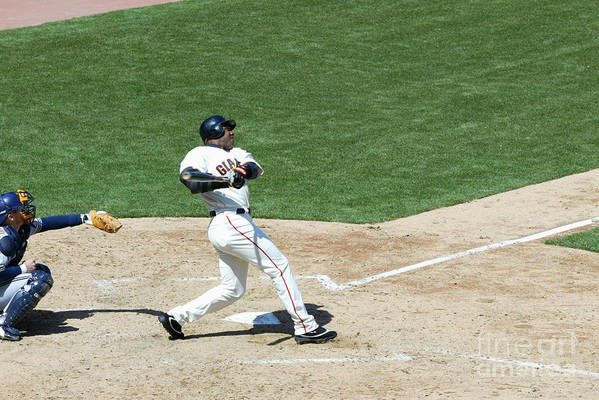 San Francisco Art Print featuring the photograph Willie Mays and Barry Bonds by Jed Jacobsohn