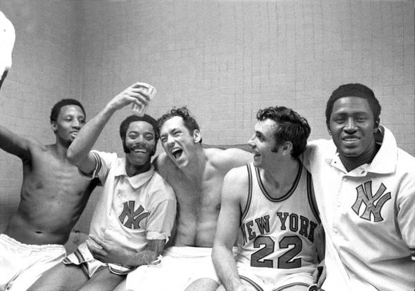 Playoffs Art Print featuring the photograph Willis Reed, Bill Bradley, and Walt Frazier by New York Daily News Archive