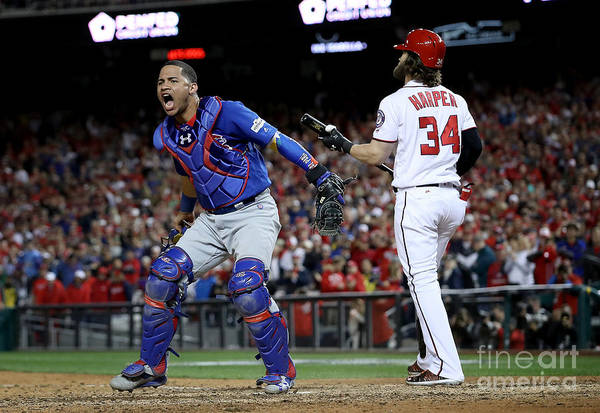 American League Baseball Art Print featuring the photograph Willson Contreras and Bryce Harper by Win Mcnamee