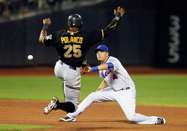 Double Play Art Print featuring the photograph Wilmer Flores and Gregory Polanco by Jim Mcisaac