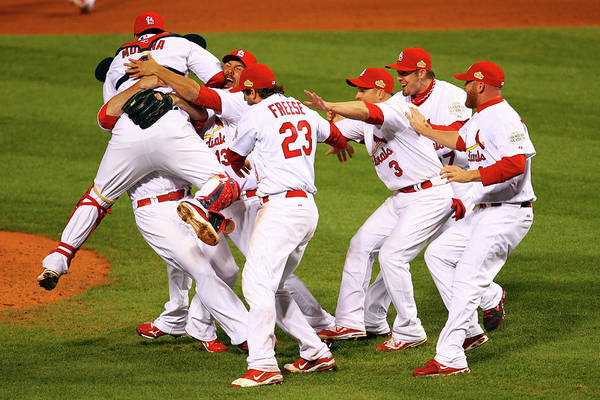 St. Louis Cardinals Art Print featuring the photograph Yadier Molina, Gerald Laird, and David Freese by Dilip Vishwanat