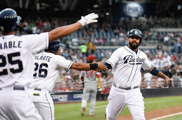 People Art Print featuring the photograph Yangervis Solarte, Will Venable, and Matt Kemp by Denis Poroy