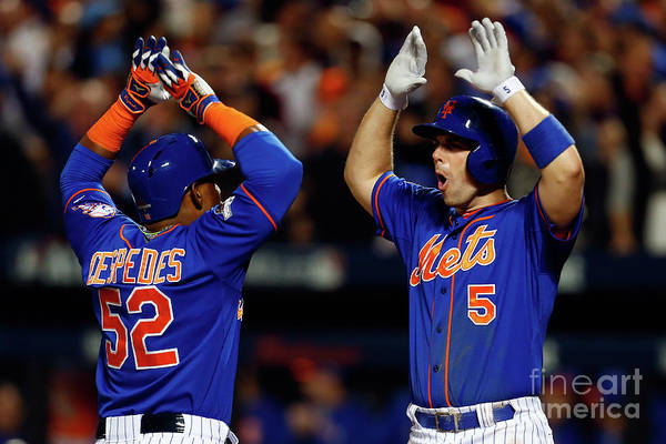 Yoenis Cespedes Art Print featuring the photograph Yoenis Cespedes, Alex Wood, and David Wright by Mike Stobe