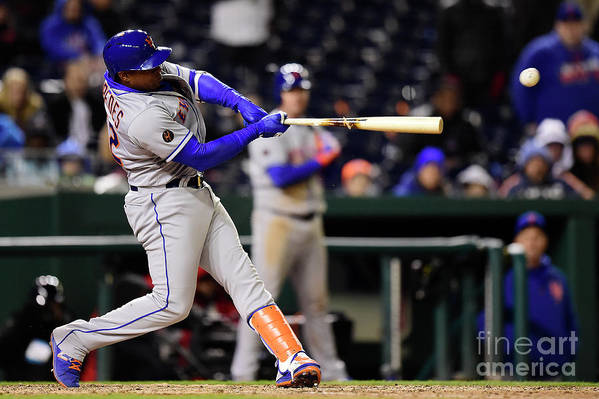 Yoenis Cespedes Art Print featuring the photograph Yoenis Cespedes and Juan Lagares by Patrick Mcdermott