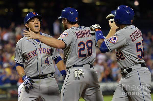 Yoenis Cespedes Art Print featuring the photograph Yoenis Cespedes, Daniel Murphy, and Wilmer Flores by Drew Hallowell