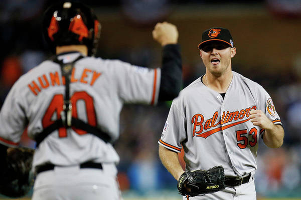 American League Baseball Art Print featuring the photograph Zach Britton and Nick Hundley by Gregory Shamus