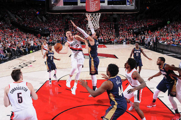 Playoffs Art Print featuring the photograph Zach Collins by Cameron Browne