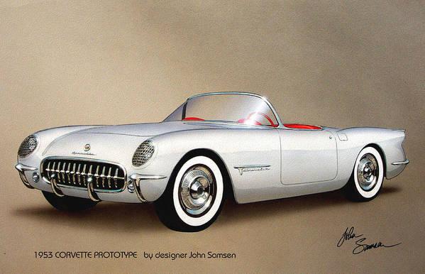 Automotive Art Art Print featuring the painting 1953 CORVETTE classic vintage sports car automotive art by John Samsen